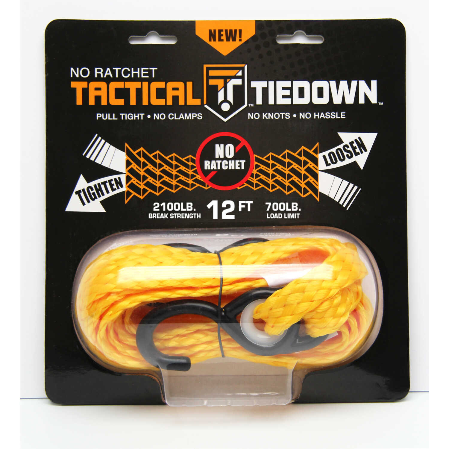 Tactical Tiedown  12 ft. L Yellow  Tie Down  700 lb.