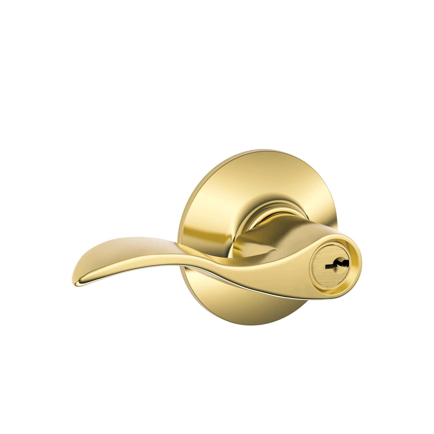 Schlage Accent Bright Brass Entry Lockset ANSI Grade 2 1-3/4 in.