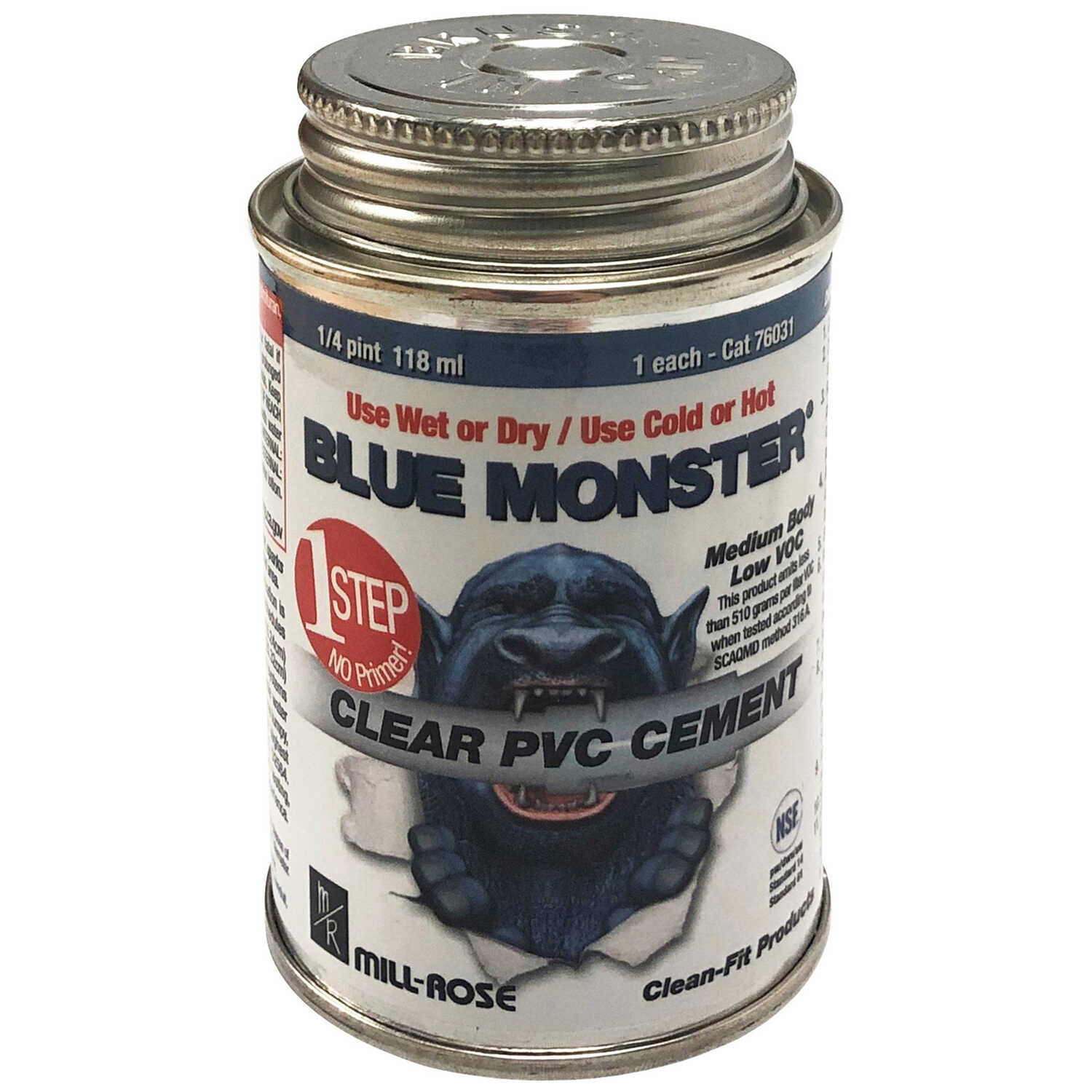 Blue Monster  Clear  All Weather Cement  For PVC 4 oz.