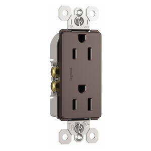 Legrand  Radiant  15 amps 125 volt Dark Bronze  Outlet  5-15 R  1 pk