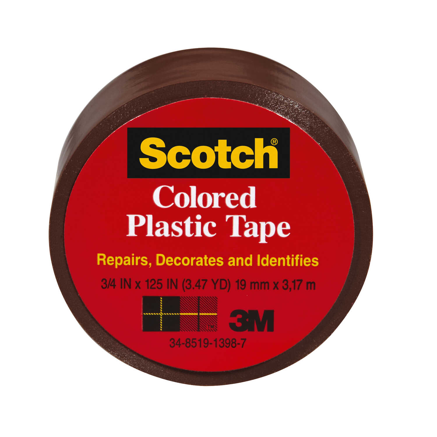 Scotch  Brown  125 in. L x 3/4 in. W Plastic Tape