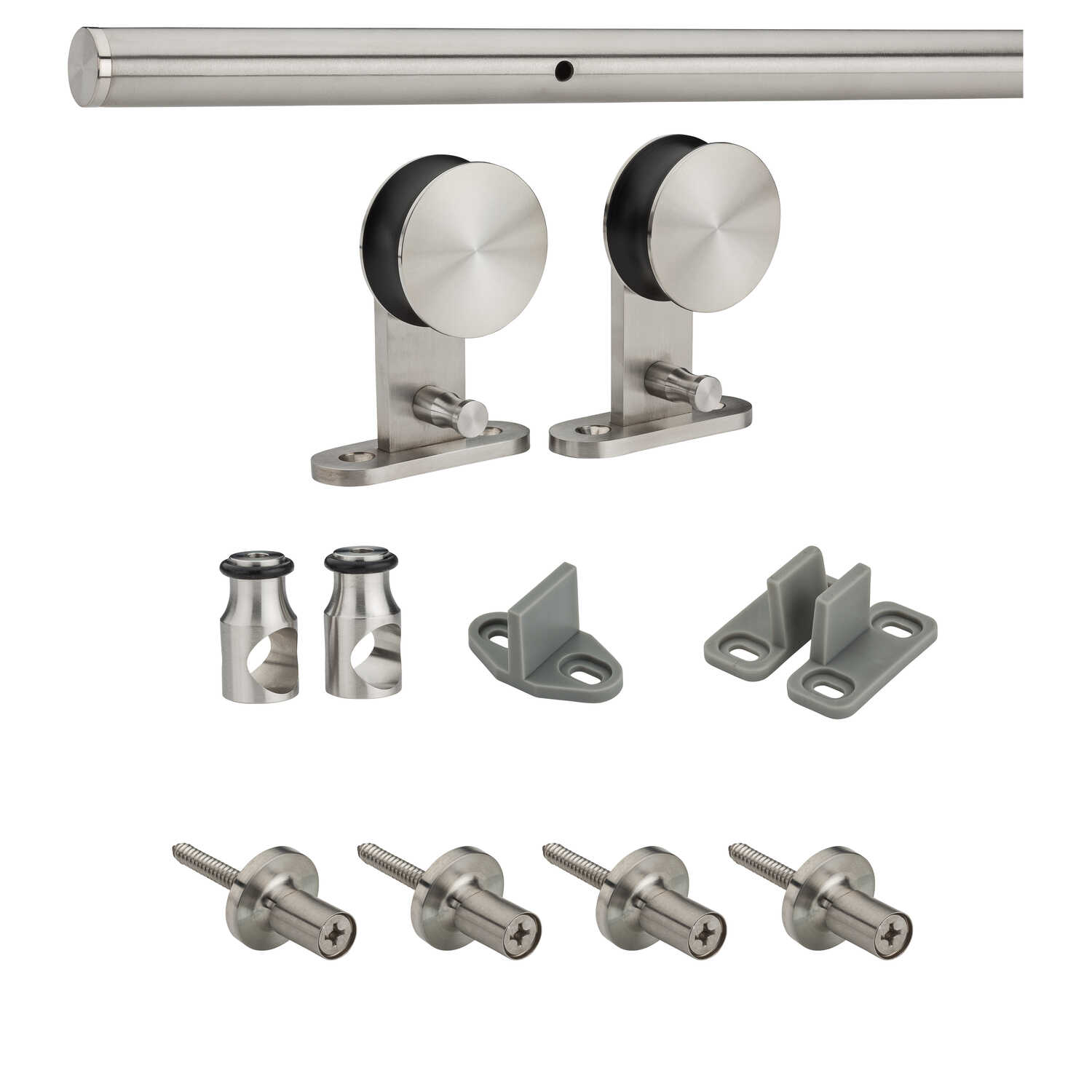 National Hardware  1-1/2 in. H x 72 in. W Stainless Steel  Sliding Door Track Kit