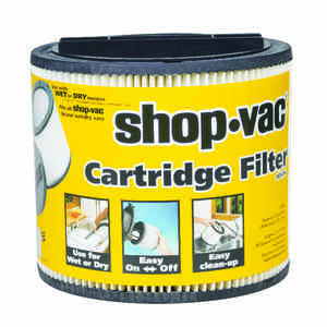 Shop-Vac  6.5 in. L x 8 in. Dia. Type U  Wet/Dry Vac Cartridge Filter  5 gal. White  1 pk