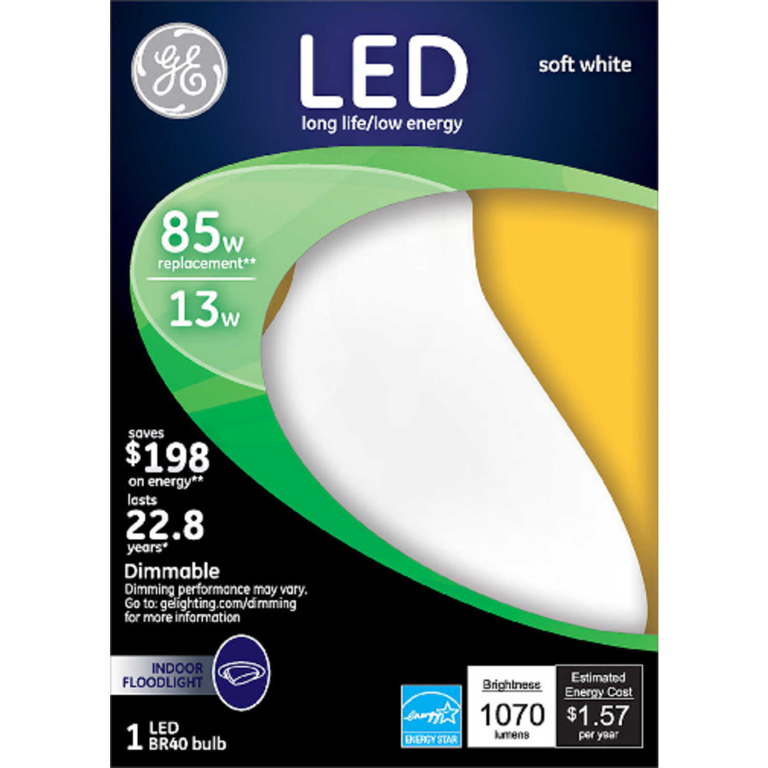GE Lighting  13 watts BR40  LED Bulb  1070 lumens Soft White  85 Watt Equivalence Floodlight