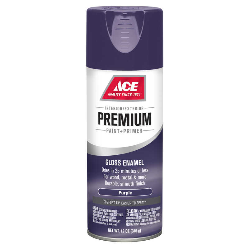 Ace  Premium  Gloss  Purple  Enamel Spray Paint  12 oz.