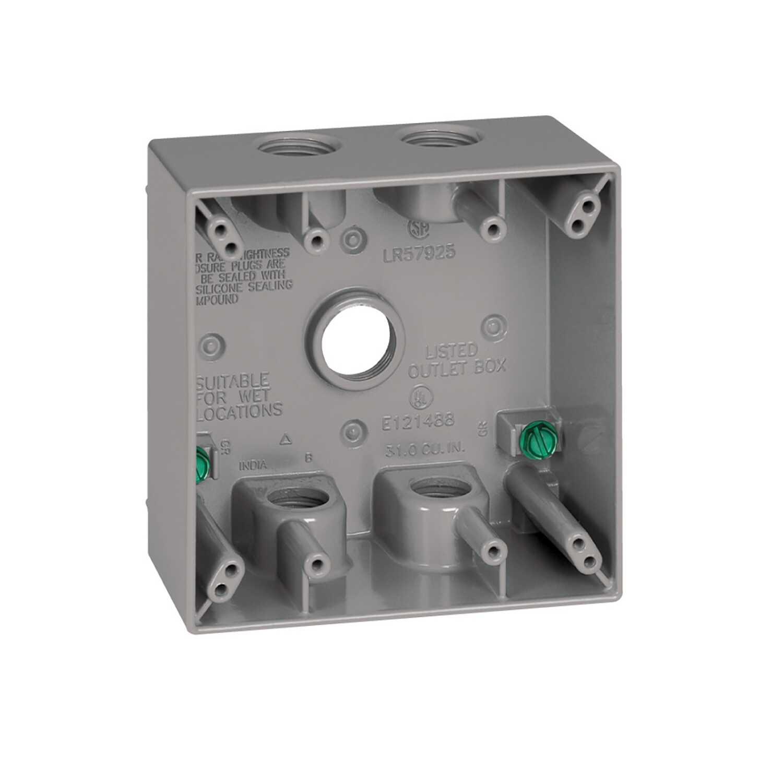 Sigma Electric 4-1/2 in  Square Metallic 2 gang Weatherproof Box
