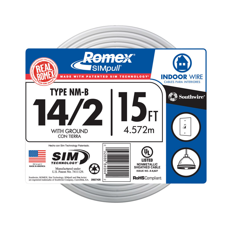Southwire SimPull 15 ft. 14/2 Solid Wire Romex Type NM-B WG Non ...