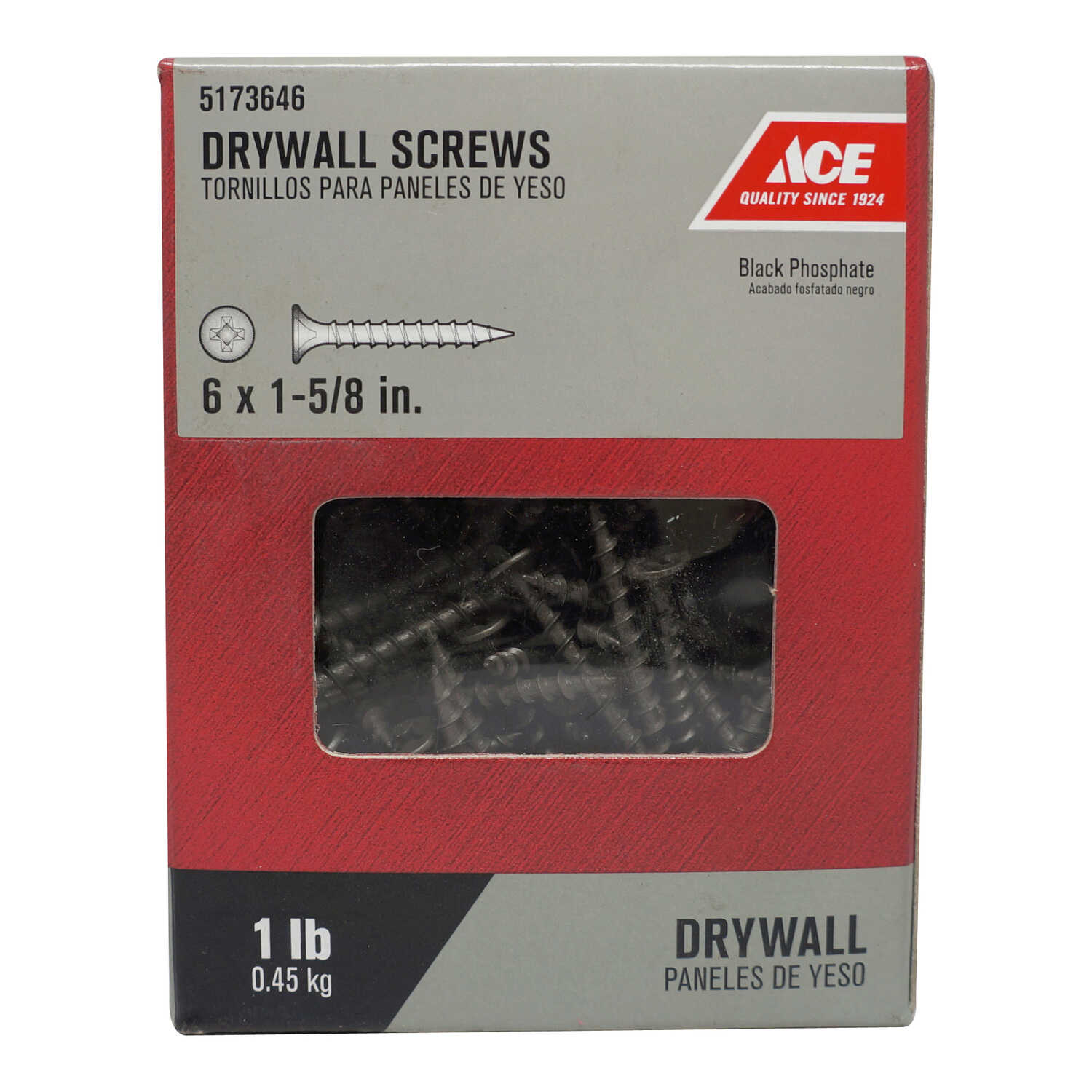 Ace  No. 6   x 1-5/8 in. L Phillips  Bugle Head Black Phosphate  Steel  Drywall Screws  1 lb. 230 pk