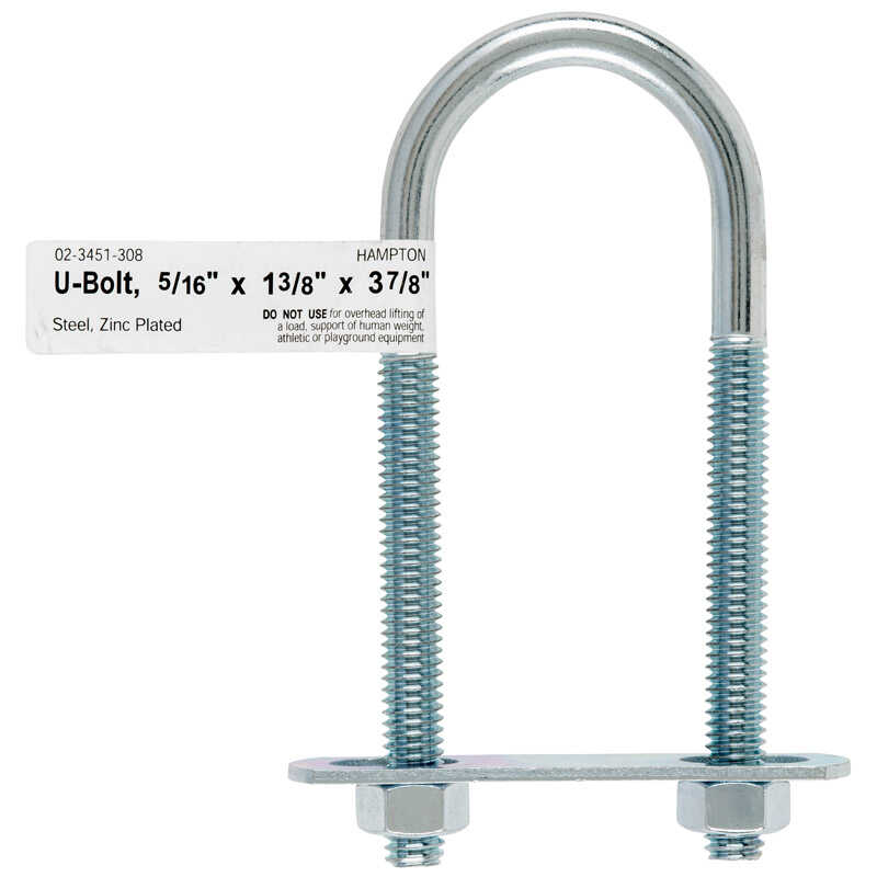 Hampton  5/16 in.  x 1-3/8 in. W x 3-7/8 in. L Coarse  Zinc-Plated  Steel  U-Bolt