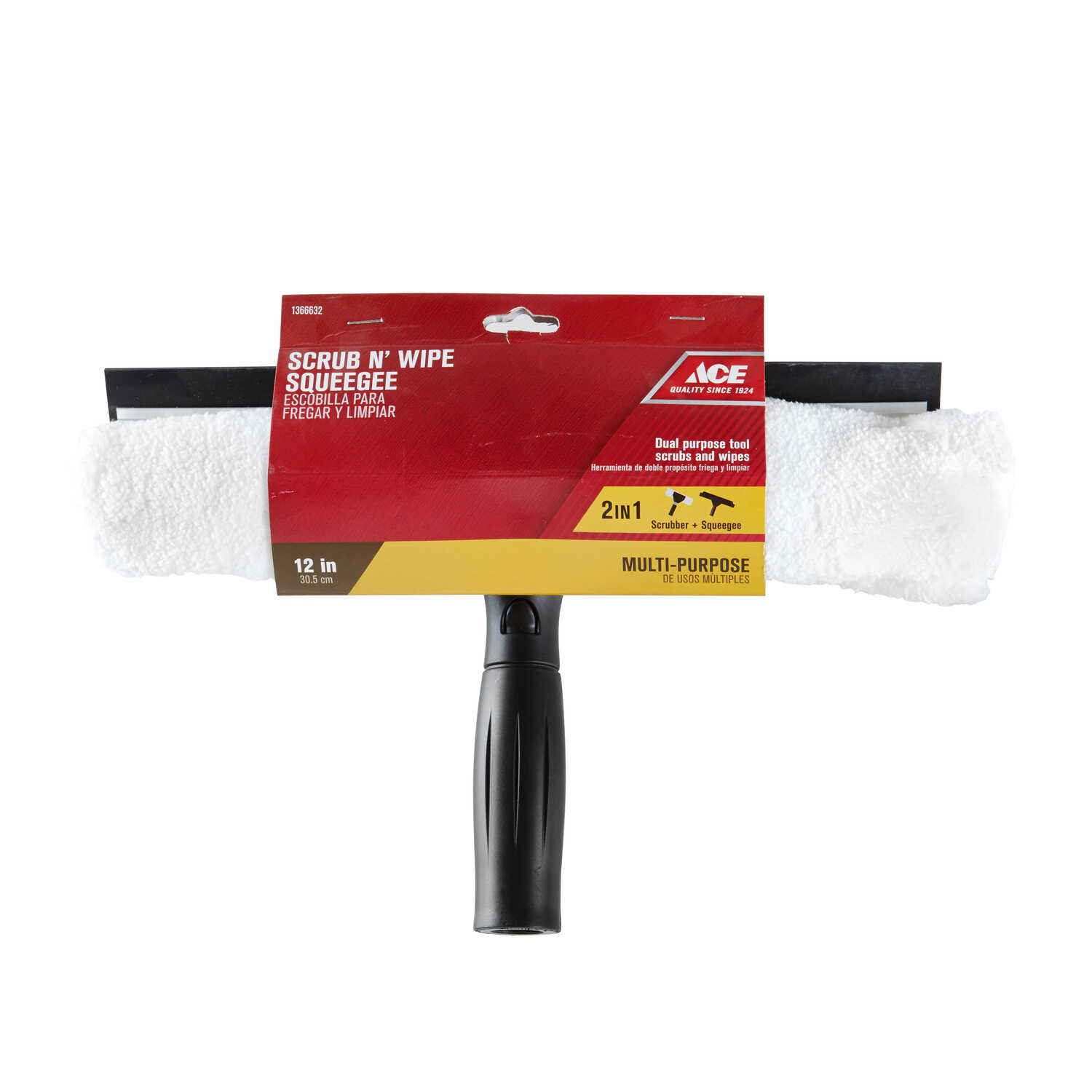 Ace  12 in. Rubber  Window Squeegee/Scrubber
