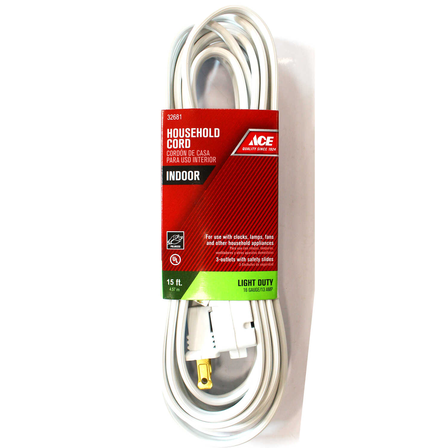 Ace  Indoor  15 ft. L White  Extension Cord  16/2 SPT-2
