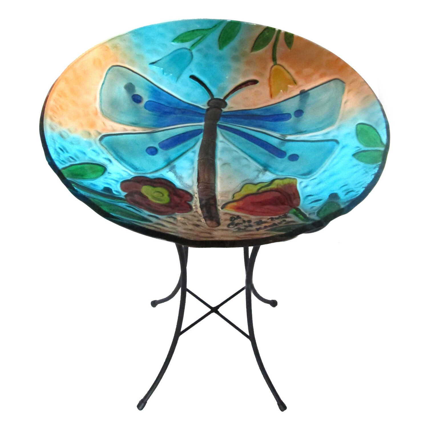 Infinity  Glass  25.5 in. Flying Insect  Bird Bath