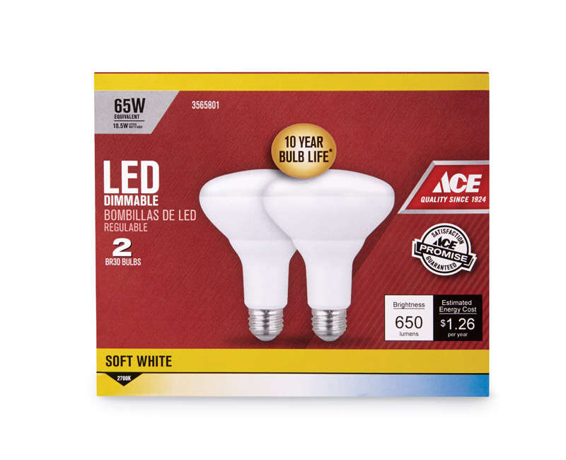 Ace  BR30  LED Bulb  650 lumens 65 Watt Equivalence Floodlight  Soft White