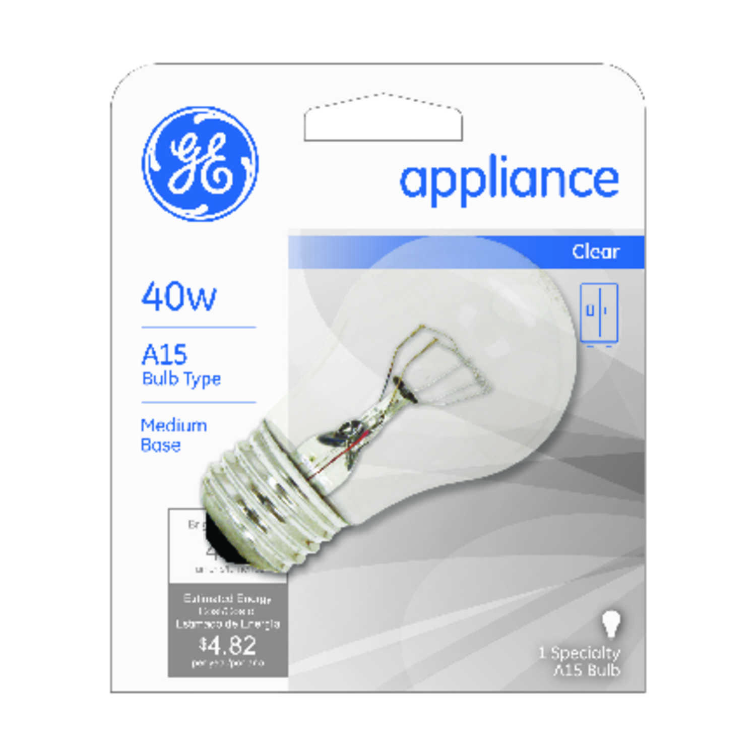GE Lighting  40 watts A19  Incandescent Bulb  415 lumens White  A-Line  1 pk