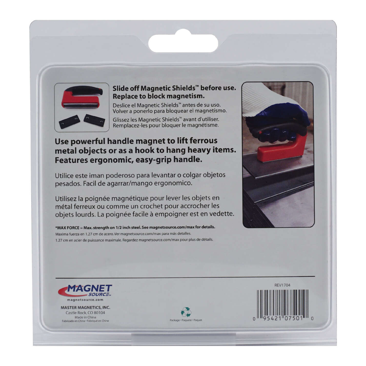 Master Magnetics  The Magnet Source  5.25 in. Ceramic  Handle Magnet  100 lb. 3.4 MGOe 1 pc. Red