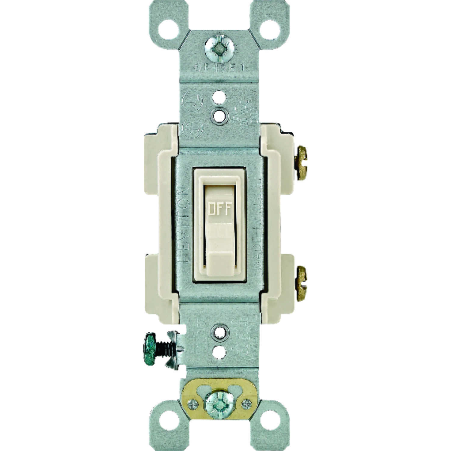 Leviton  15 amps Framed  Switch  Toggle  1 pk 15 amps Light Almond