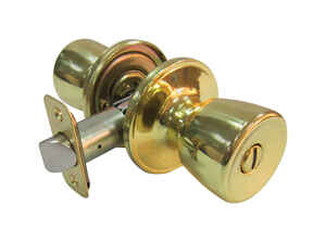 Faultless  Tulip  Polished Brass  Metal  Privacy Knob  3 Grade Right Handed