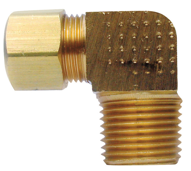 JMF  3/8 in. Dia. x 1/2 in. Dia. Compression To MPT To Compression  90 deg. Yellow Brass  Elbow