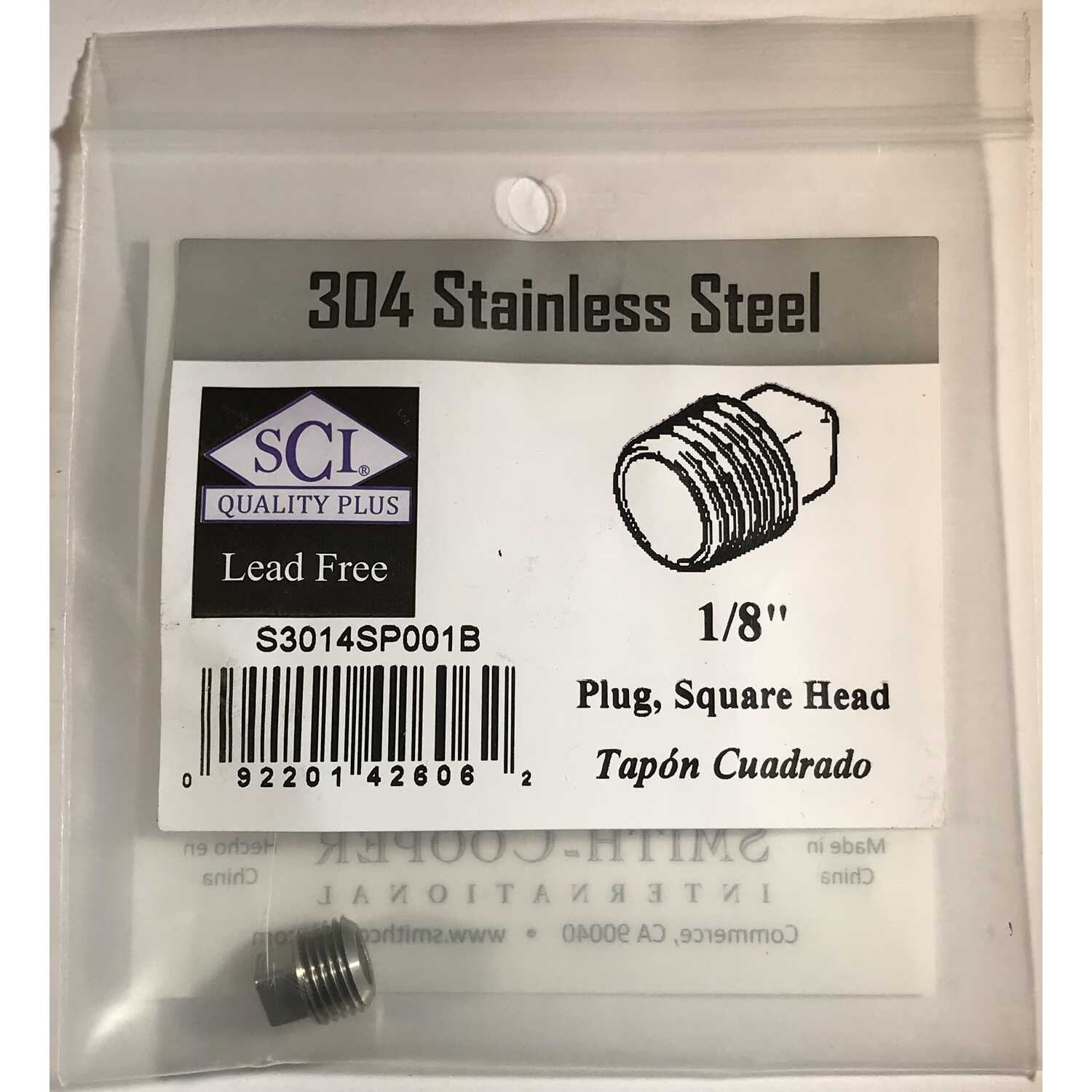 Smith-Cooper  1/8 in. MPT   x 1/8 in. Dia. MPT  Stainless Steel  Square Head Plug
