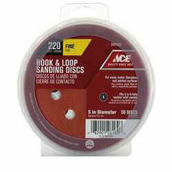 Ace 5 in. Aluminum Oxide Hook and Loop Sanding Disc 220 Grit Extra Fine 50 pk