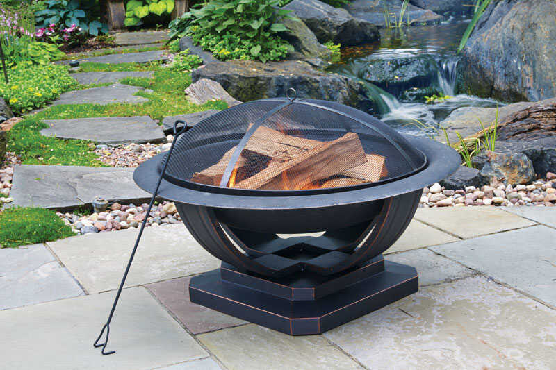 Living Accents  Round  Wood  Fire Pit  24 in. H x 35 in. W x 35 in. D Cast Iron