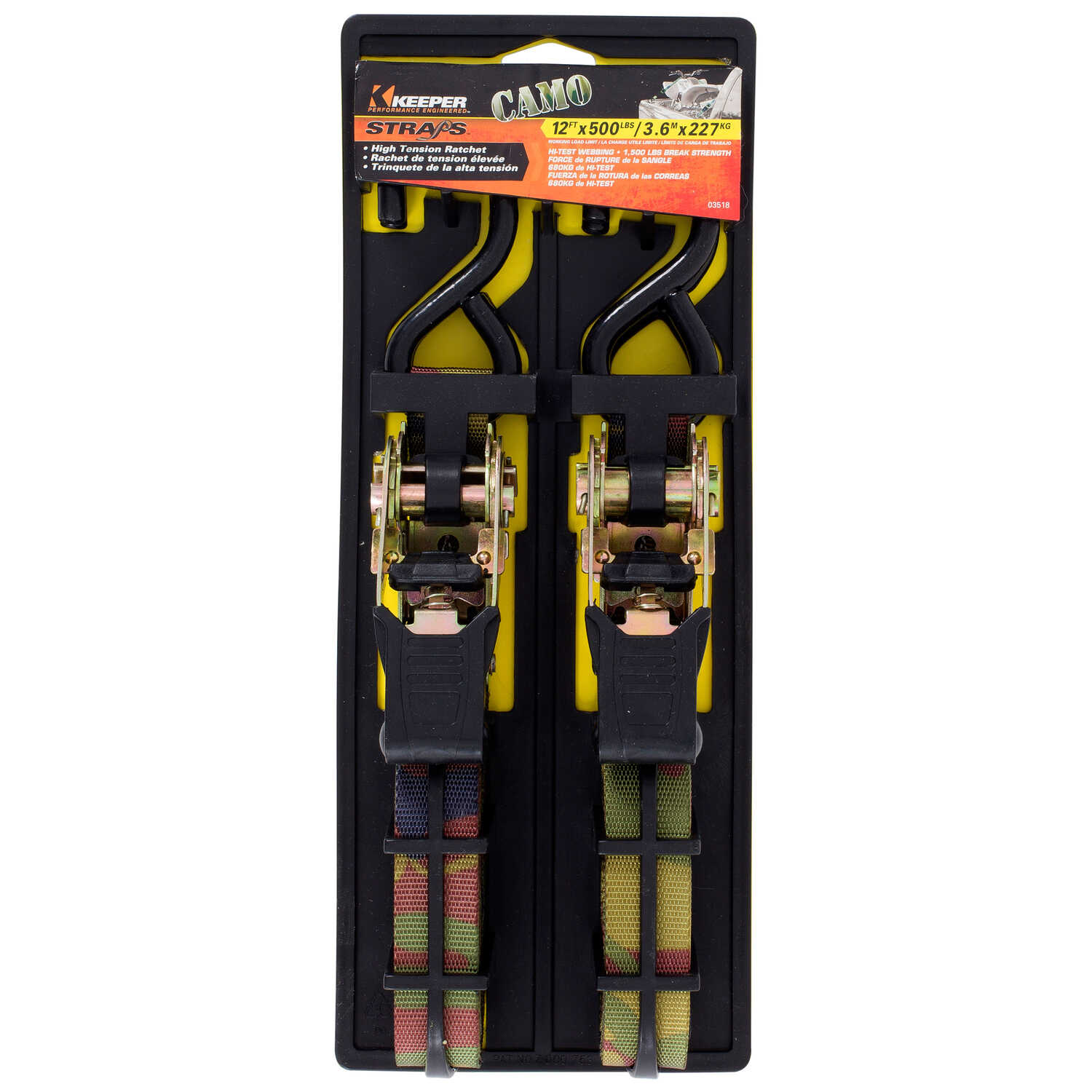 Keeper  1 in. W x 12 ft. L Multicolored  Tie Down Strap  500 lb. 1 pk
