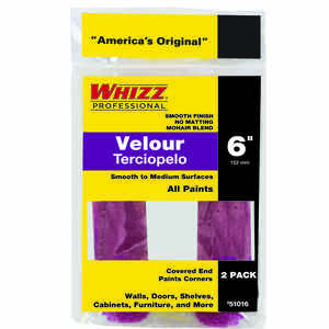 Whizz  Velour  3/16 in.  x 6 in. W Mini  Paint Roller Cover  2 pk