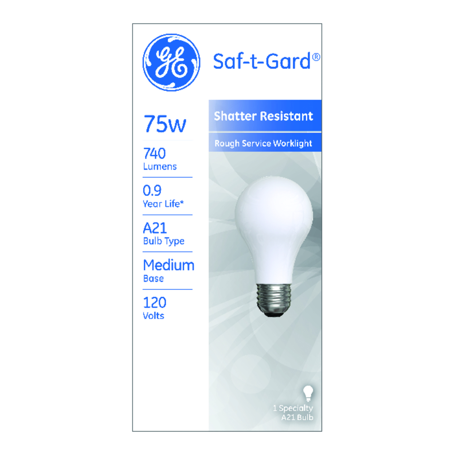 GE Lighting  Saf-T-Gard  75 watts A21  Incandescent Bulb  740 lumens White  A-Line  1 pk