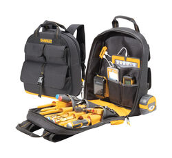 DeWalt  6 in. W x 19.75 in. H Ballistic Polyester  Tool Charging Back Pack  23 pocket Black/Yellow