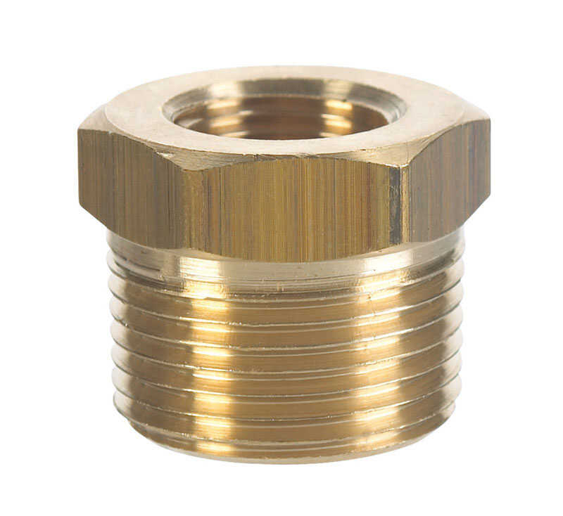 Ace  3/8 in. Dia. x 1/4 in. Dia. MPT To FPT  Yellow Brass  Hex Bushing