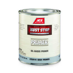 Ace  Rust Stop  Flat  Alkyd Resin  For Clean Metals 1 qt. Oil Primer  Grey