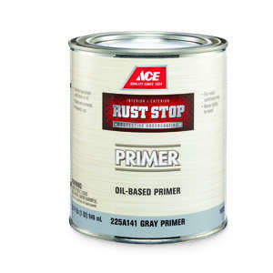 Ace  Rust Stop  Flat  Alkyd Resin  Oil Primer  For Clean Metals Grey  1 qt.