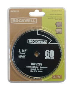 Rockwell  4-1/2 in. Dia. x 3/8 in.  Versacut  High Speed Steel  Circular Saw Blade  60 teeth
