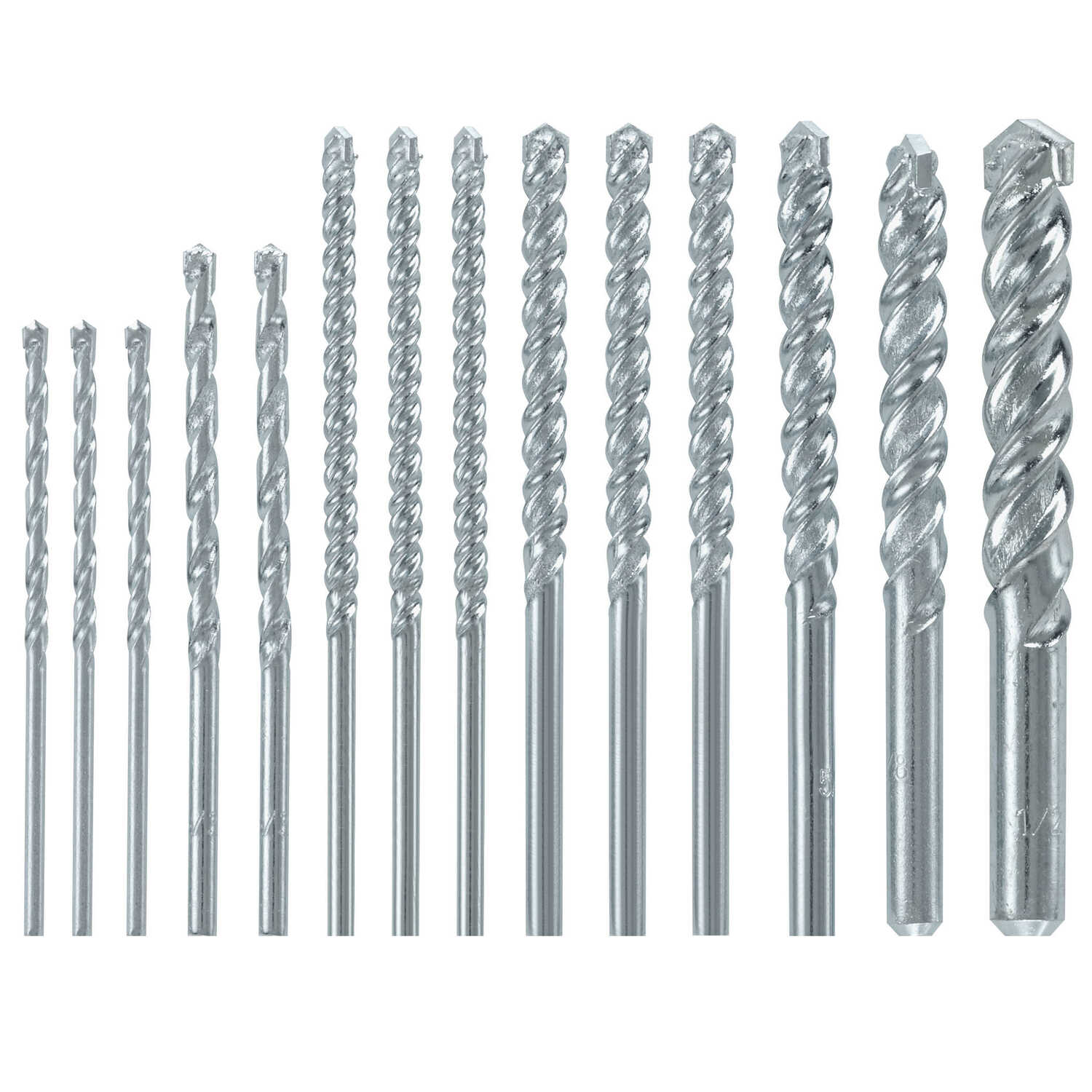Bosch  Fast Spiral  Multi Size in. Dia. x 6  L Rotary Drill Bit  Carbide Tipped  14 pc. Straight Sha