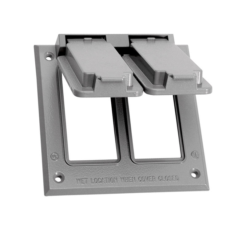 Sigma  Square  Aluminum  2 gang Electrical Cover  For 2 GFCI Receptacles