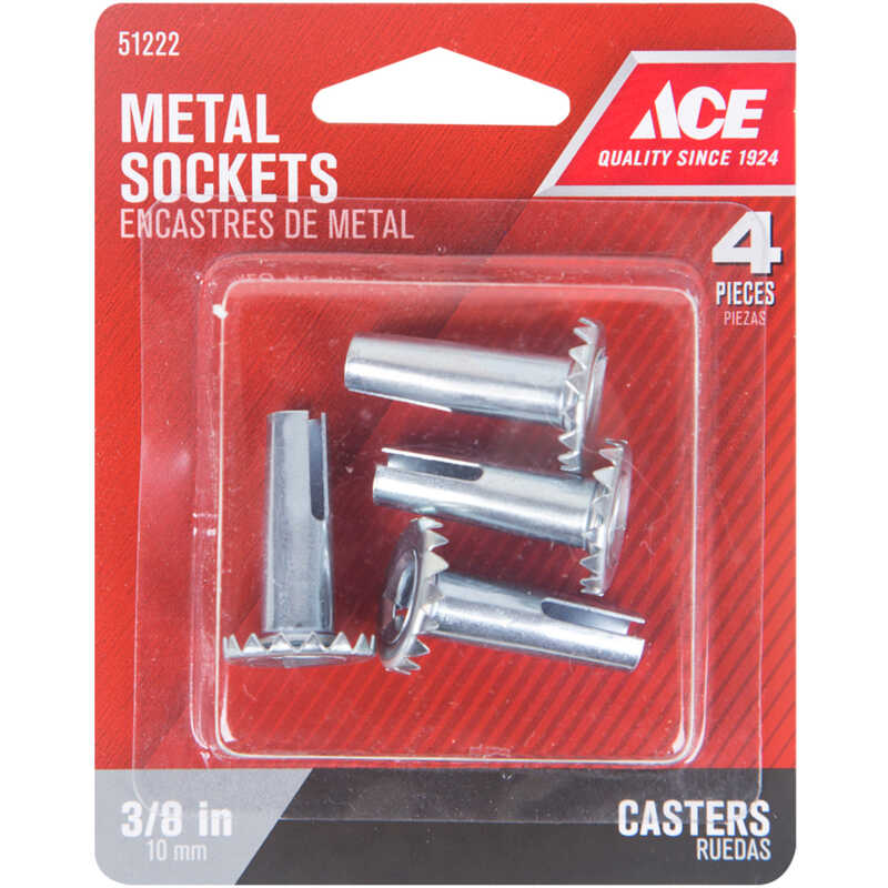 Ace  3/8 in. Dia. Stamped Metal  Caster Socket  4 pk