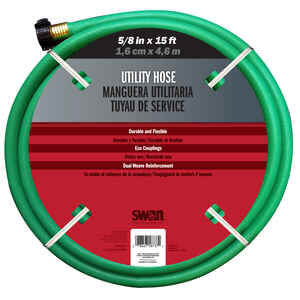 Swan  5/8 in. Dia. x 15 ft. L Utility  Green  Remnant Hose