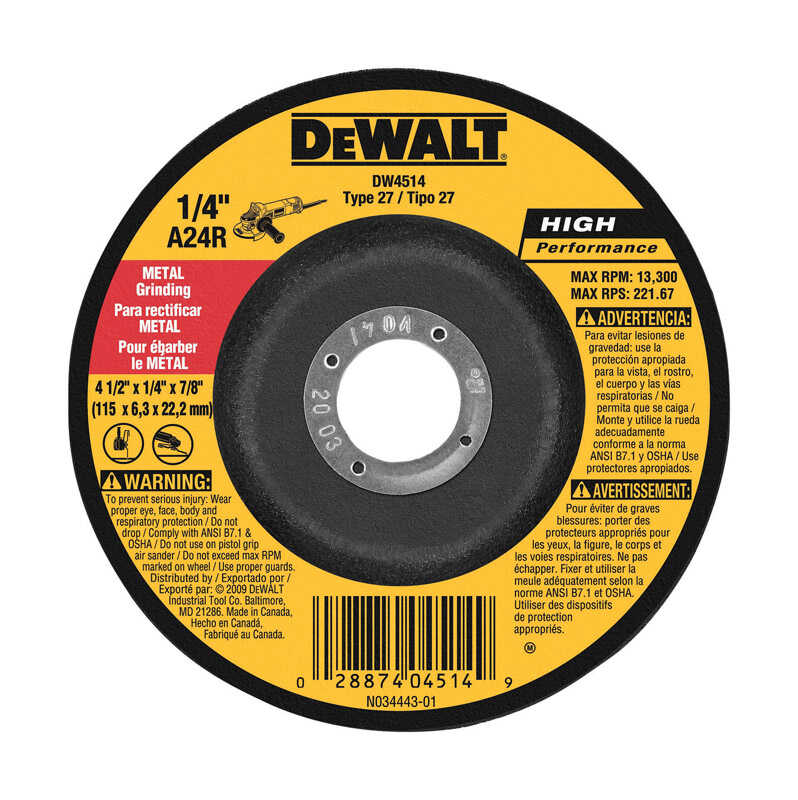 DeWalt  High Performance  4-1/2 in. Dia. x 1/4 in. thick  x 7/8 in.   Aluminum Oxide  Metal Grinding