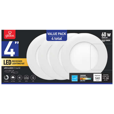 Globe Electric  Ultra Slim Energy Star  White  4 in. W Aluminum  LED  Recessed Lighting Kit  9 watt