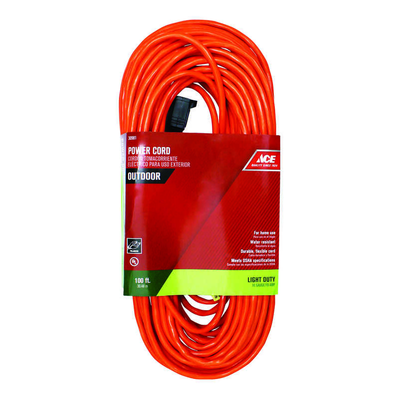 Ace  Indoor and Outdoor  100 ft. L Orange  Extension Cord  16/2 SJTW