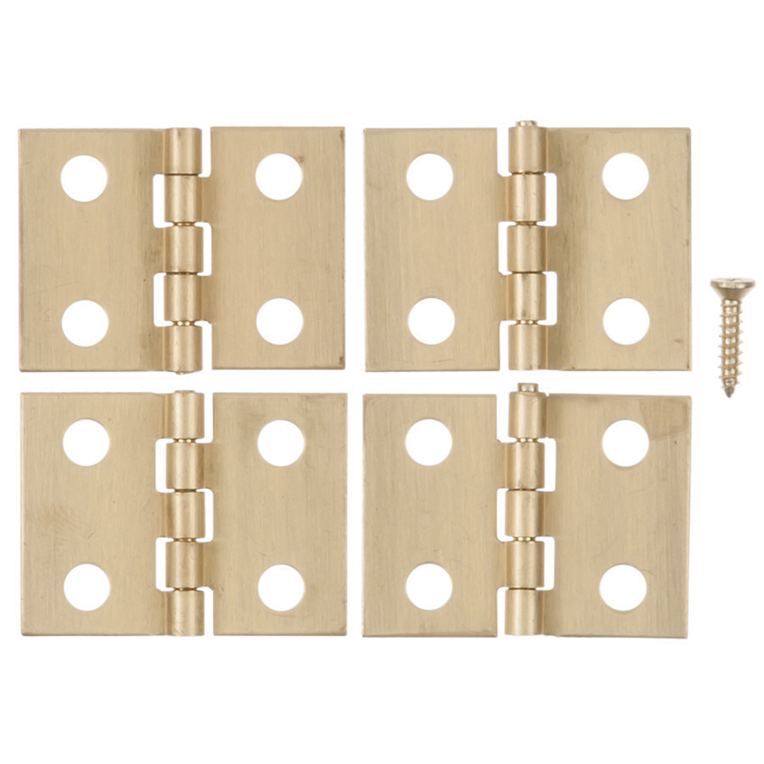 Ace  3/4 in. L Polished Brass  Brass  Broad Hinge  4 pk