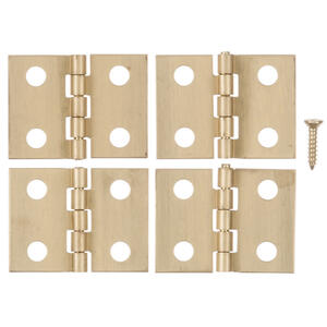 Ace  1 in. W x 3/4 in. L Polished Brass  Brass  Broad Hinge  4 pk