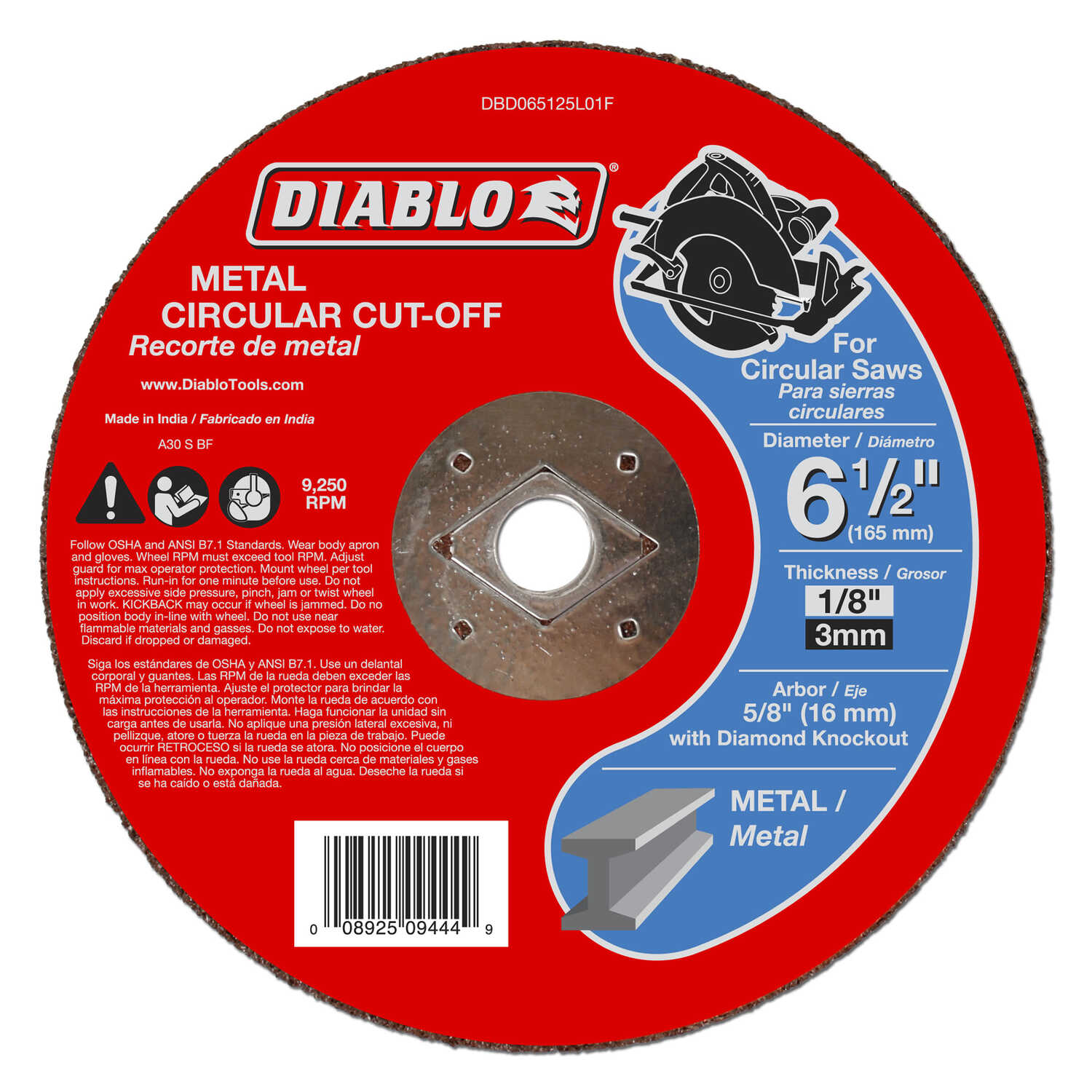 Diablo  6-1/2 in. Aluminum Oxide  Metal Circular Cut-Off Disc  1/8 in.  x 5/8 in.   1 pk