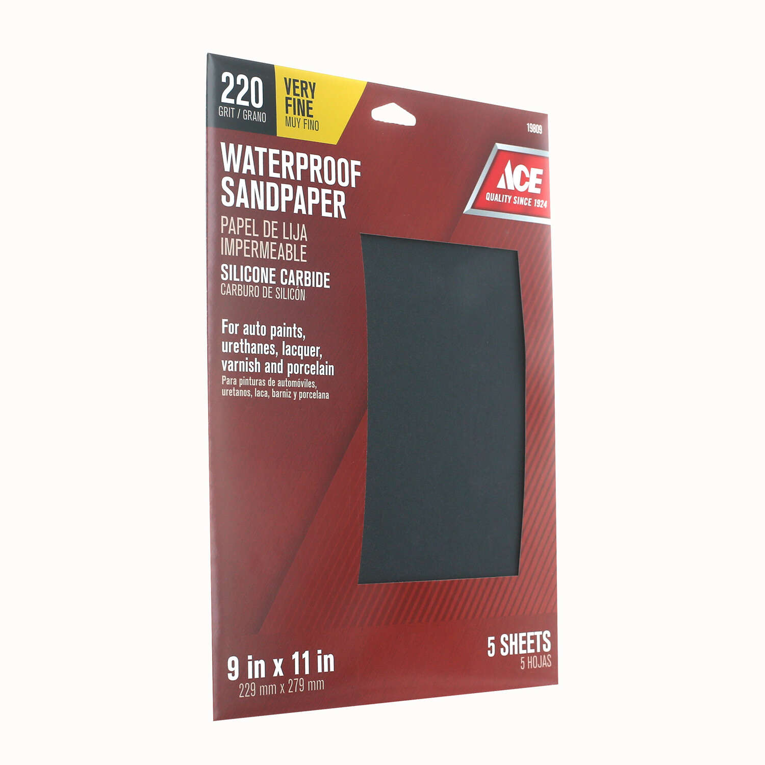 Ace  11 in. L x 9 in. W 220 Grit Silicon Carbide  Waterproof Sandpaper  5 pk