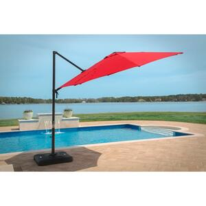 Hanover  Cantilever  11 ft. Tiltable Red  Patio Umbrella