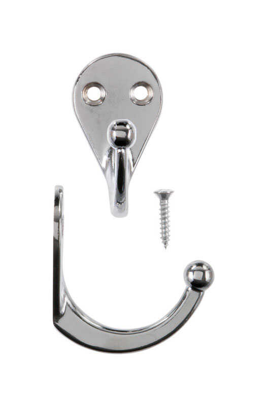 Ace  1-3/4 in. L Chrome  Chrome  Metal  Single Garment  Hook  2 pk