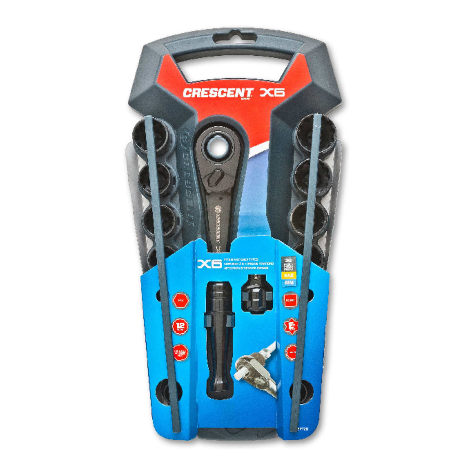 Crescent  X6  Assorted Sizes  x 1/2 in.  Metric and SAE  6 and 12  Socket Wrench Set  20 pc.