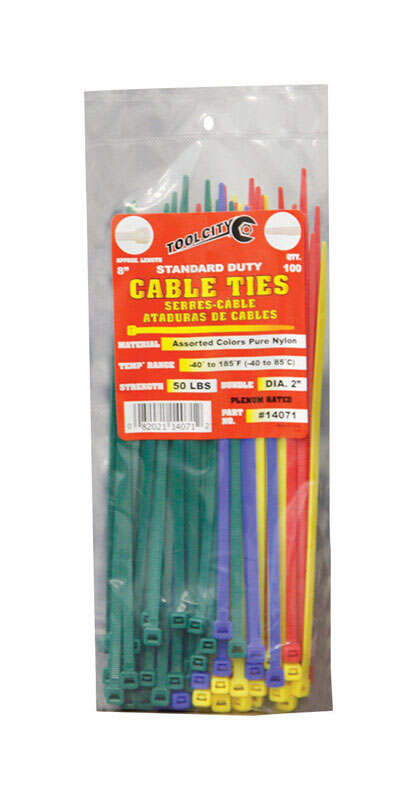 Tool City  8 in. L Assorted  Cable Tie  100 pk