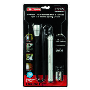 Craftsman  160 lumens Black  LED  Flexible Flashlight  AA