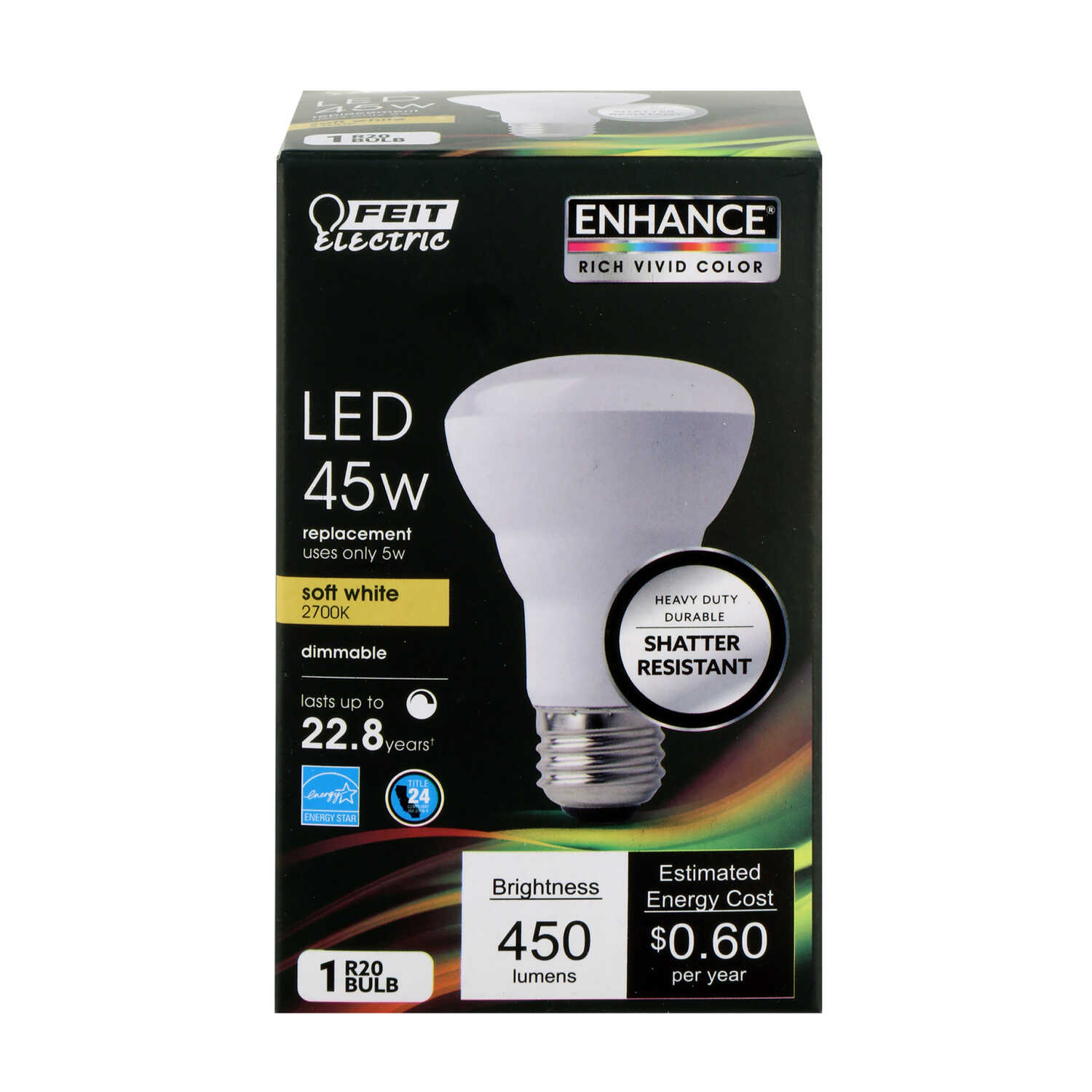 FEIT Electric  8 watts R20  LED Bulb  450 lumens Reflector  Soft White  45 Watt Equivalence